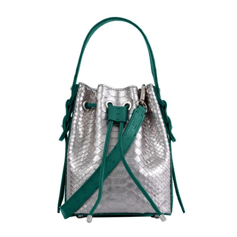 Trixie in Silver Mist Python & Brilliant Green Ostrich 1