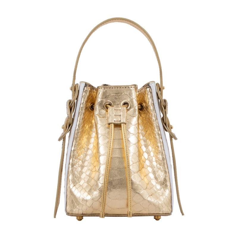 Trixie in Gold Python & White Ostrich 4