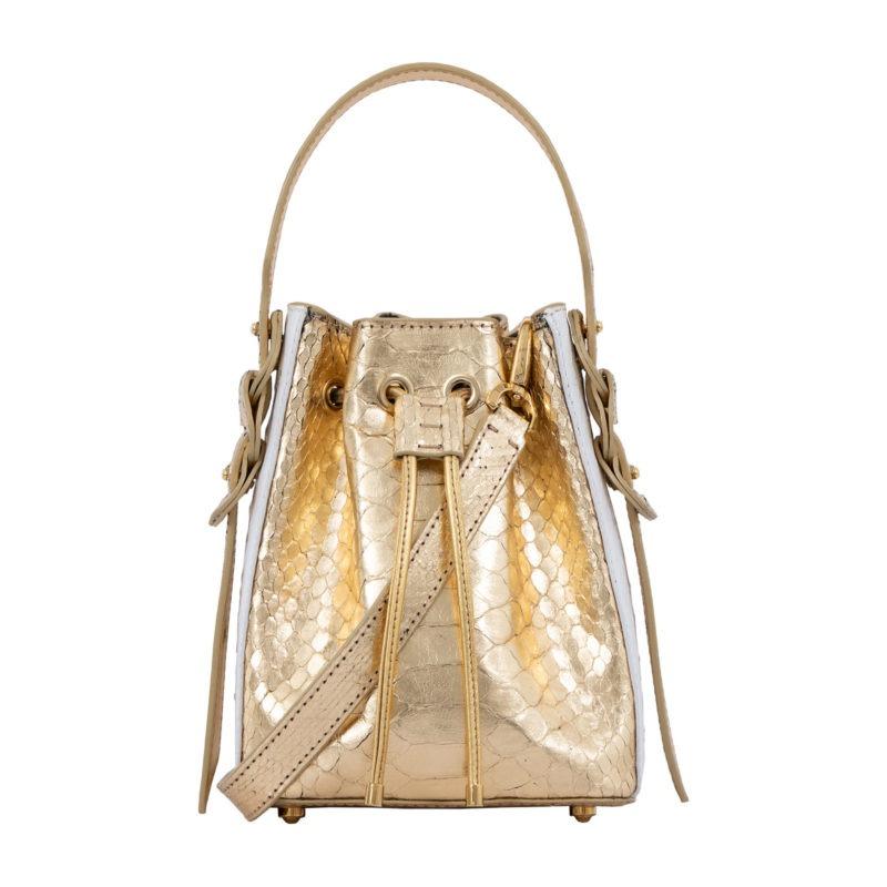 Trixie in Gold Python & White Ostrich 1