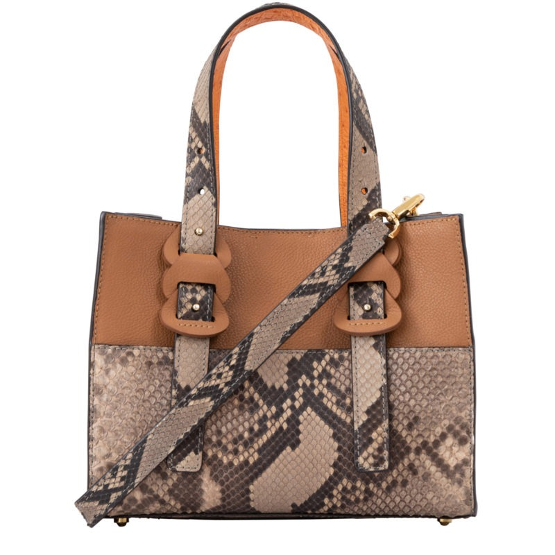 Luana in Cairo Nappa, Toffee Python & Apricot Ostrich 1