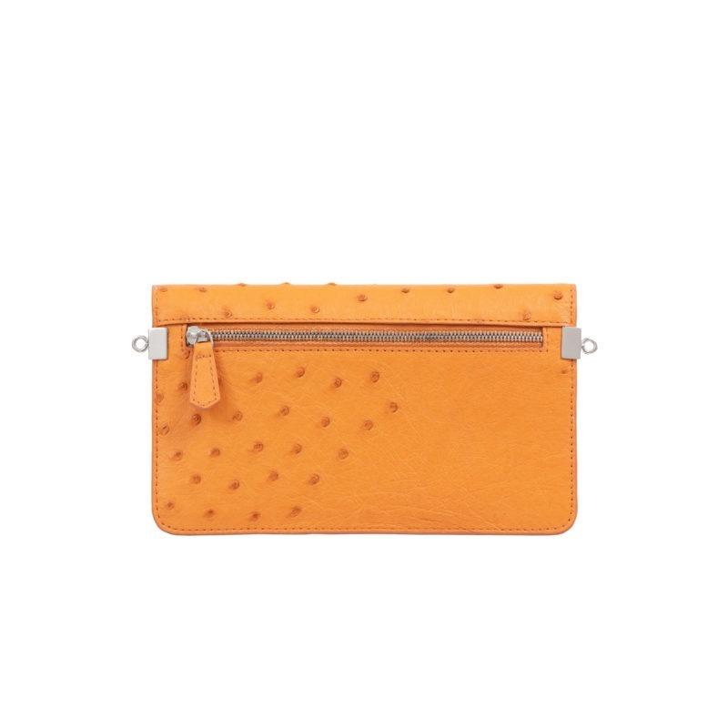 Accordion Crossbody Wallet in Apricot Ostrich 3