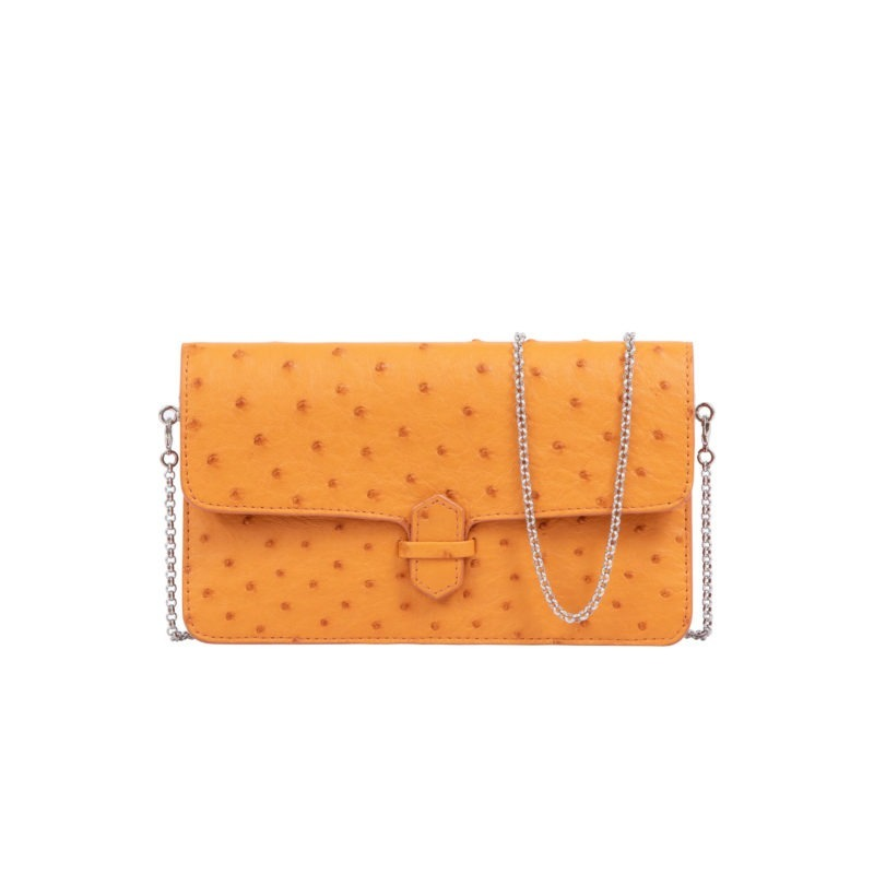 Accordion Crossbody Wallet in Apricot Ostrich 1