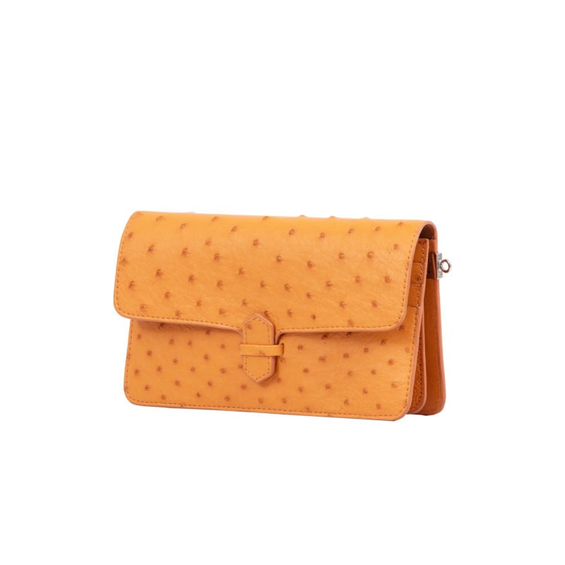 Accordion Crossbody Wallet in Apricot Ostrich 2