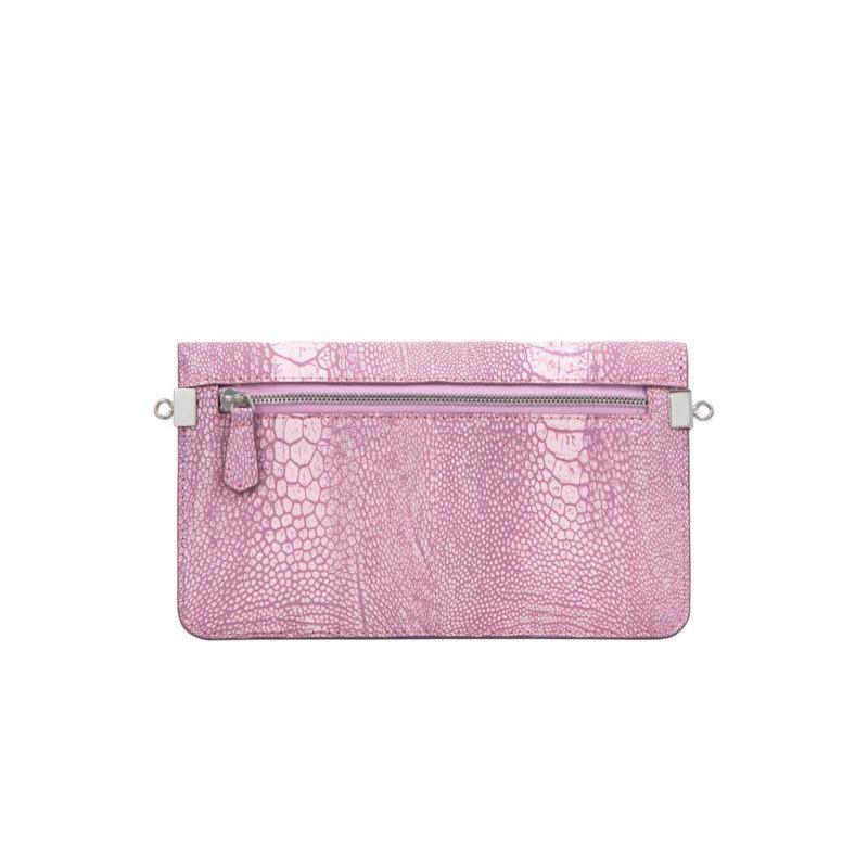 Accordion Crossbody Wallet in Stone Wash Pink Ostrich Leg 3