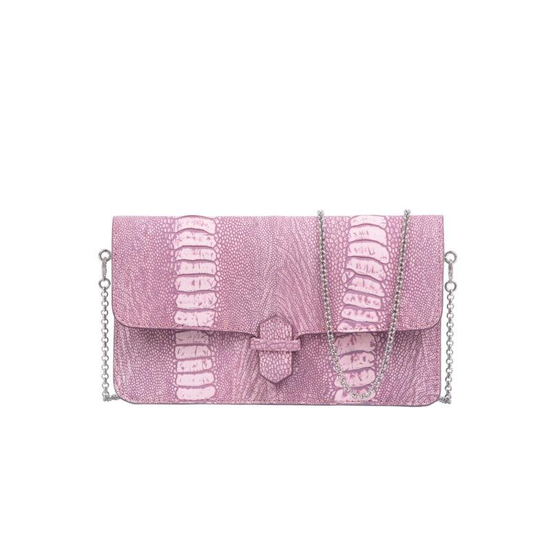 Accordion Crossbody Wallet in Stone Wash Pink Ostrich Leg 1
