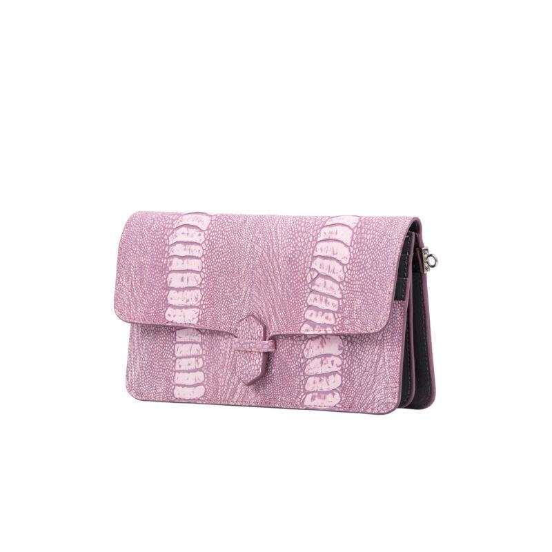 Accordion Crossbody Wallet in Stone Wash Pink Ostrich Leg 2