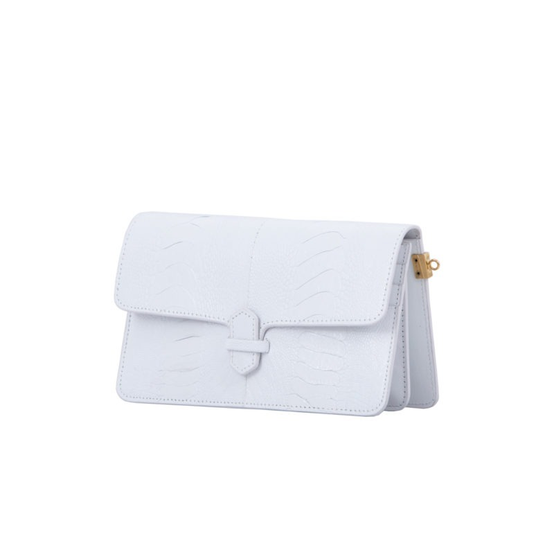 Accordion Crossbody Wallet in White Ostrich Leg 2