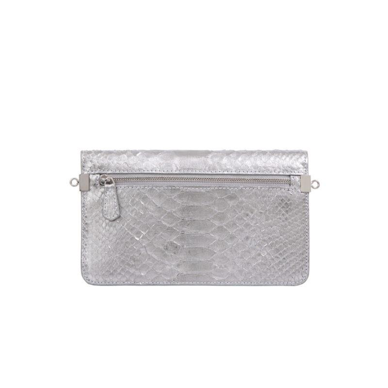 Accordion Crossbody Wallet in Silver Mist Python 3
