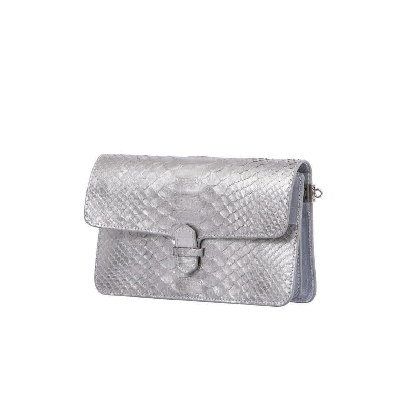 Accordion Crossbody Wallet in Silver Mist Python 2