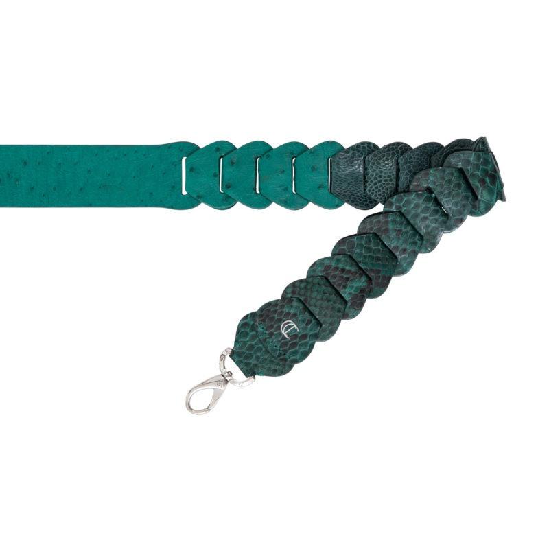Cross body link strap in Brilliant Green Ostrich & Python Combination 1