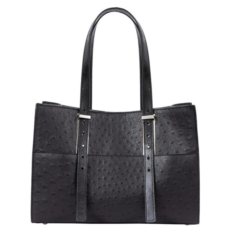 Medium Bree in Black Ostrich Combination 1