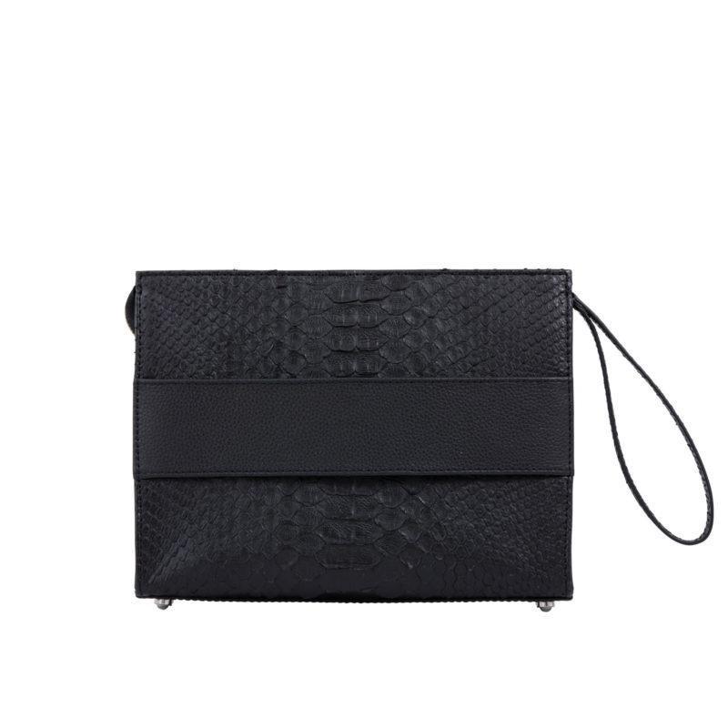 Wrist Pouch in Black Python & Nappa leather 1