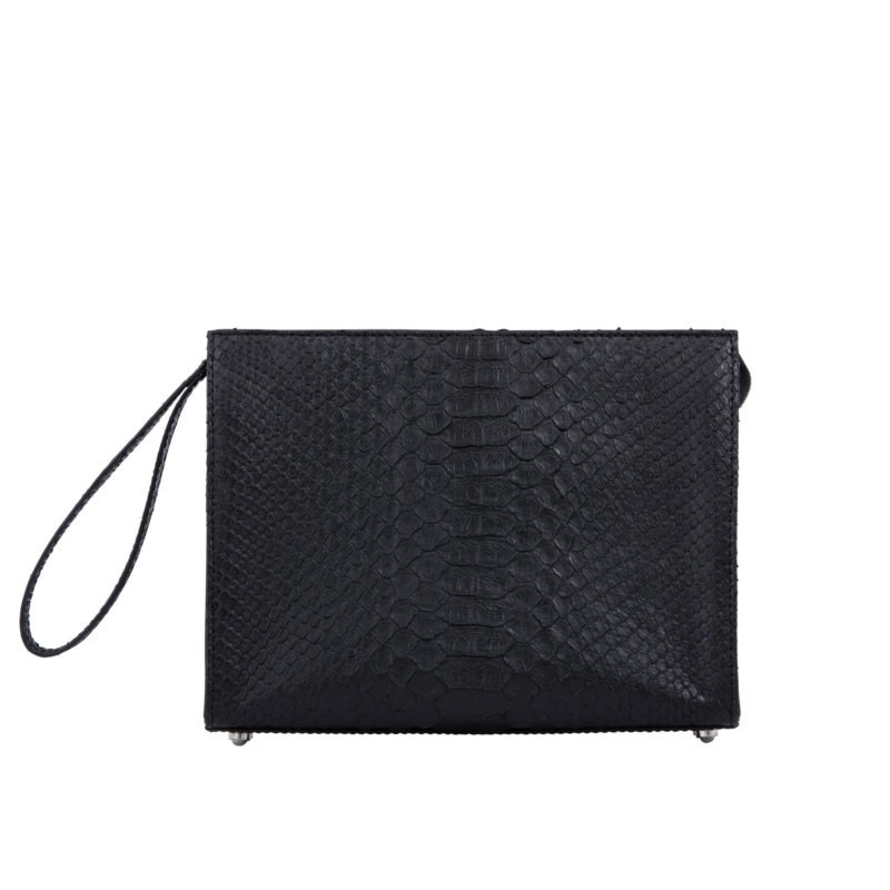 Wrist Pouch in Black Python & Nappa leather 3