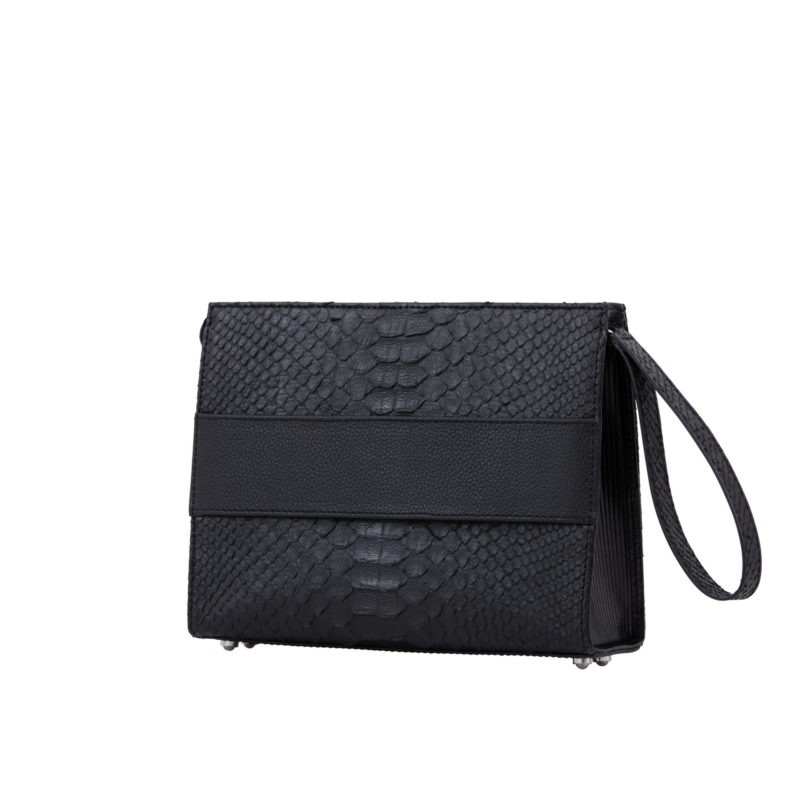 Wrist Pouch in Black Python & Nappa leather 2