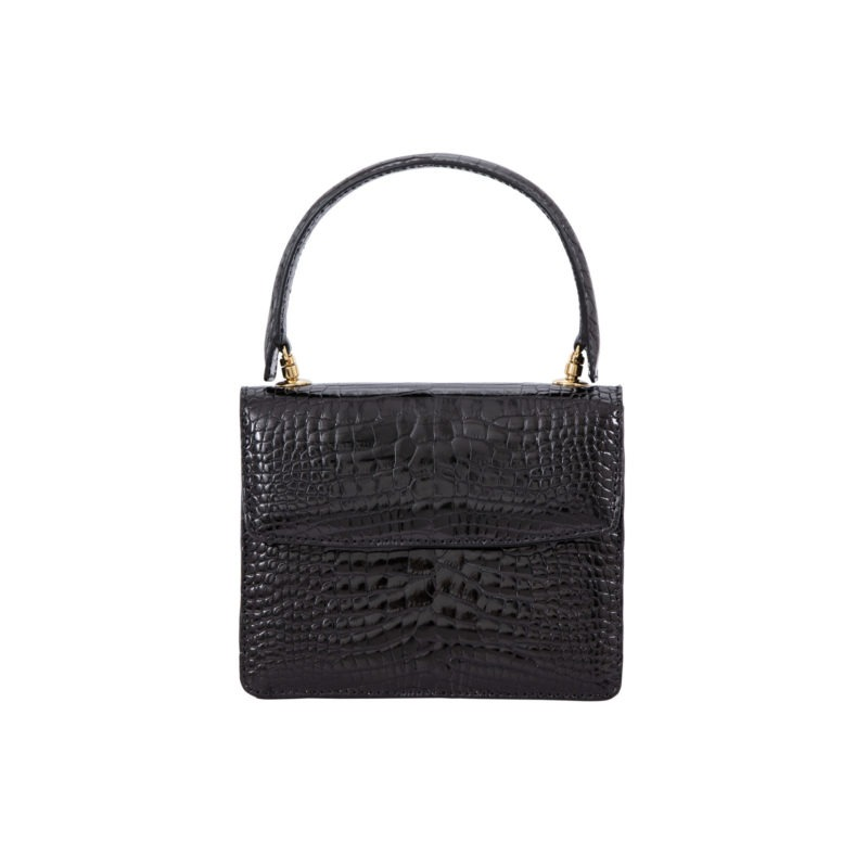 Mini Maxi in Black Shiny Alligator 1