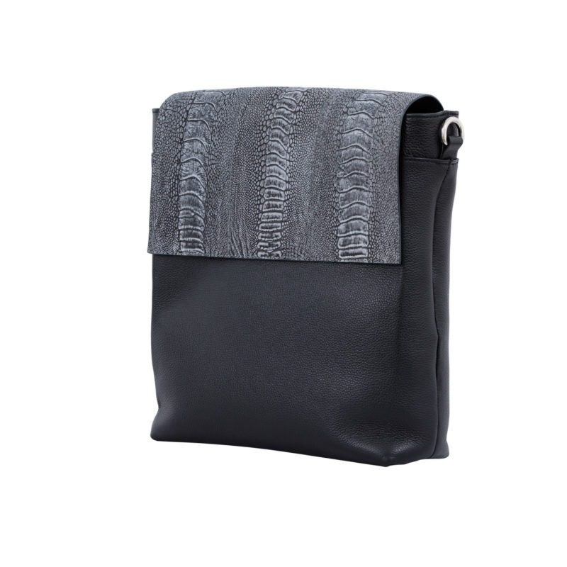 Medium Messenger in Stone wash Black Ostrich Leg & Nappa 3