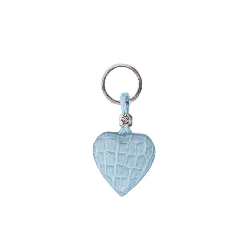 Heart keyring- Light Blue crocodile 1