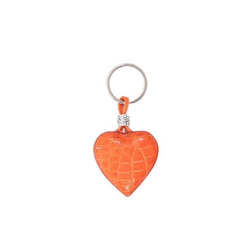 Heart keyring- Tangerine crocodile 1